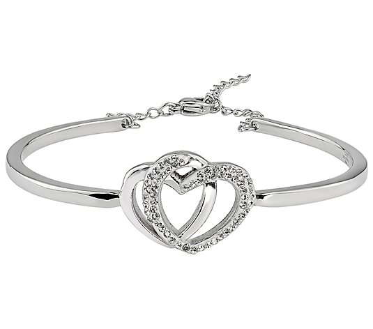 Steel by Design Crystal Open Heart Bangle