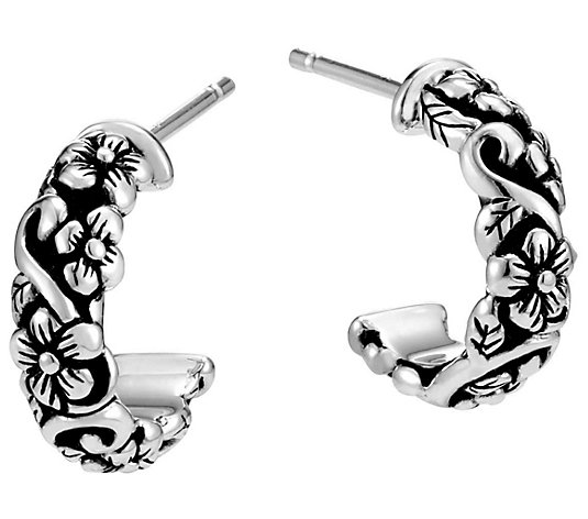JAI Sterling Silver Carved Huggie Hoop Earrings