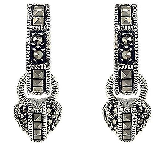 Marcasite Hoops Sterling Silver Hoops Sterling Silver Square Marcasite Hoops Marcasite Jewelry