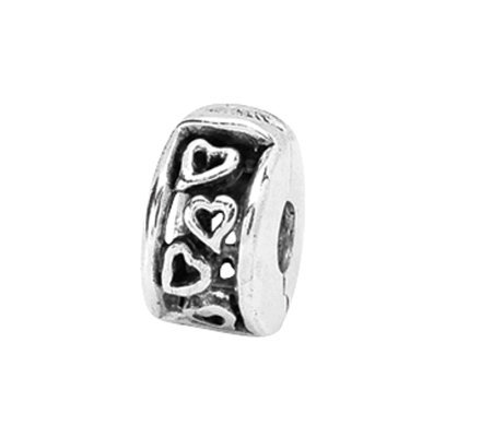 Prerogatives Sterling Hinged Open Hearts Clip Bead