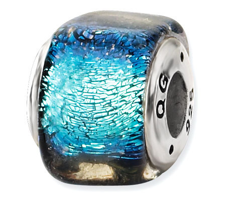 Prerogatives Sterling Light Blue Dichroic GlassSquare Bead