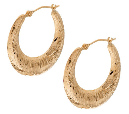 Engraved Swirl Pattern Graduated Hoop Earrings 14K Gold