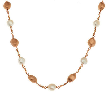 "Honora Cultured Pearl 18"" 7.0mm Baroque Bronze Nugget Station Necklace"