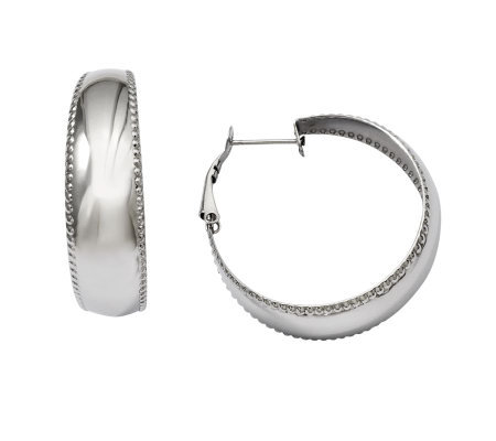 Stainless Steel Polished & Textured Edge Hoop Earrings