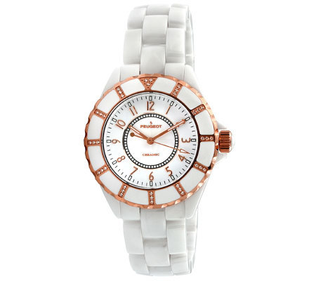 Peugeot Women's Swiss Ceramic Swarovski White Dial Watch