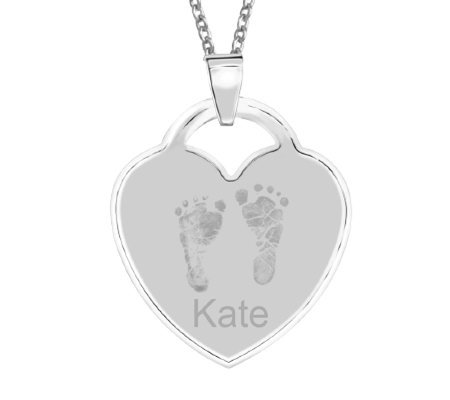 Sterling Footprint Heart Pendant w/ Chain