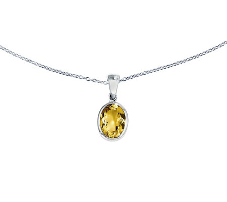 "Sterling Oval Gemstone Pendant with 18"" Chain"
