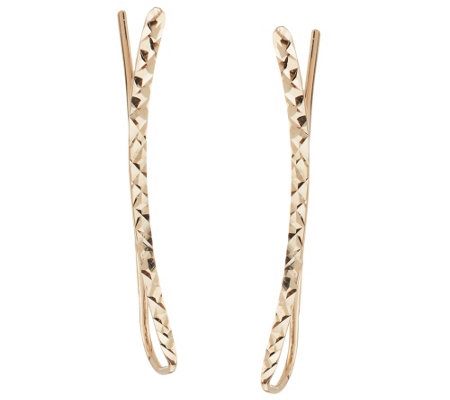 14K Gold Polished or Diamond Cut Ear Climber Earrings