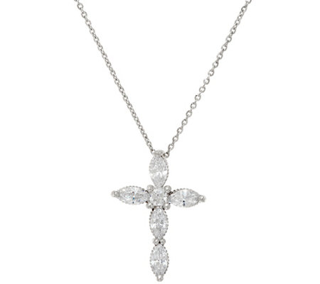 Diamonique 1.00 cttw Cross Pendant with Chain, Sterling