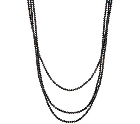 "JAI 72"" Sterling Silver Black Spinel Bead Necklace"