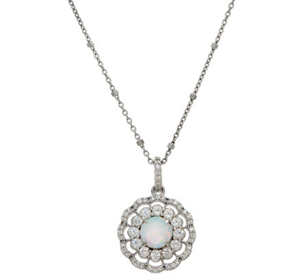 Diamonique and Synthetic Opal Halo Pendant, Sterling