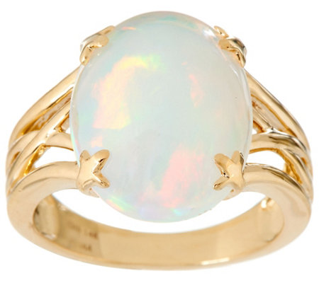 Ethiopian Opal Oval Ring 14K Gold 3.80 ct tw