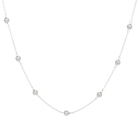"""As Is"" 14K Gold 18"" Polished Bead Station Necklace, 1.4g"