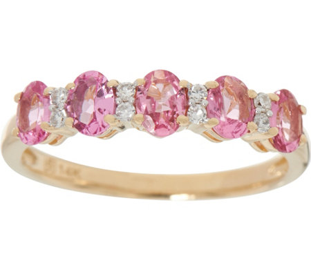 """As Is"" Oval Pink Spinel & Diamond 5-Stone Band Ring, 0.70 cttw"