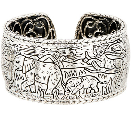 JAI Sterling Silver Engraved Hinged Cuff Bracelet, 87.9g