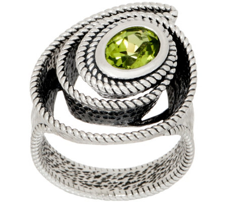 Or Paz Steling Silver 1.00ct Gemstone with Swirl Textured Ring