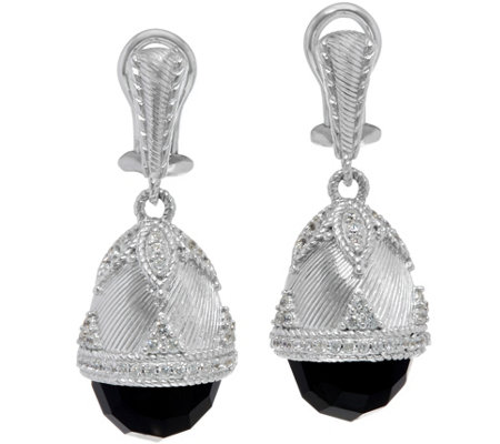"""As Is"" Judith Ripka Sterling Silver Faceted Onyx Egg Drop Earrings"