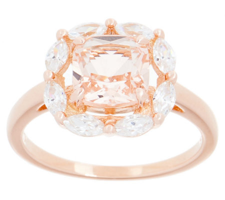 Diamonique and Simulated Gemstone Cushion Halo Ring, Sterling