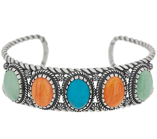 American West Sunrise 5 Stone Gemstone Sterling Silver Cuff