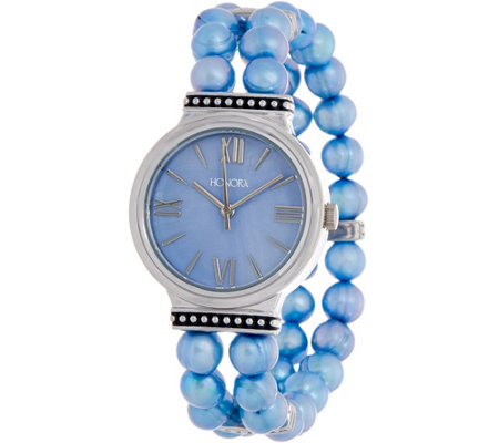 Honora Cultured Pearl and Mother-of-Pearl Stainless Steel Stretch Watch