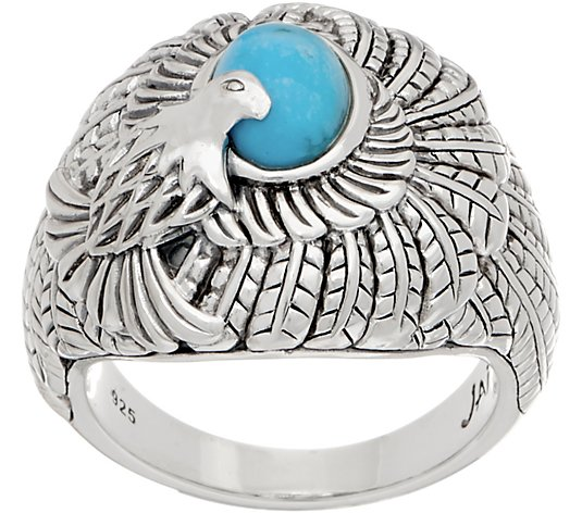 JAI Sterling Silver & Turquoise Born to Soar Eagle Ring