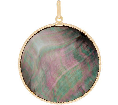 As Is Italian Gold Round Mother Of Pearl Pendant 14k Yellow Gold