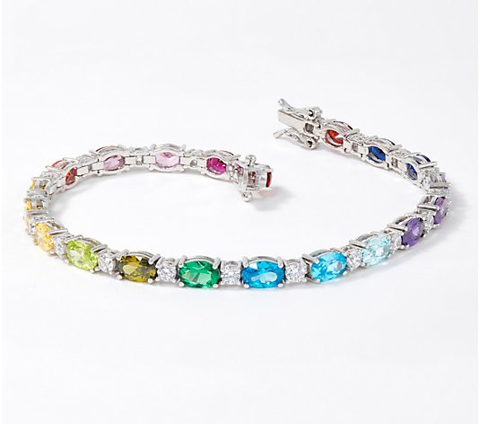 Diamonique Oval Cut Rainbow Tennis Bracelet, Platinum Clad