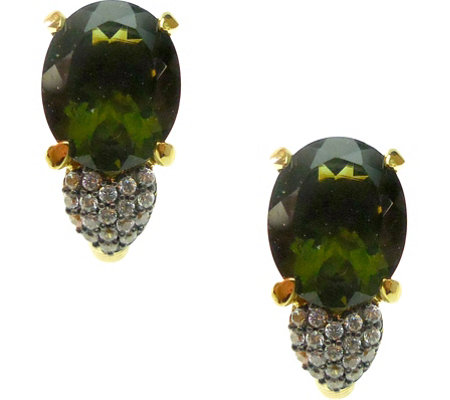 Judith Ripka 14K Clad Moldavite & Diamonique Earrings