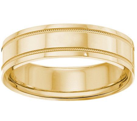 Men S 14k Yellow Gold 6mm Double Milgrain Wedding Band