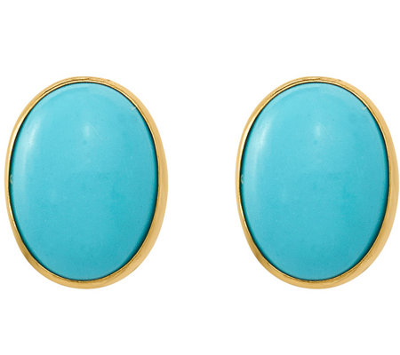 14K Oval Turquoise Post Earrings
