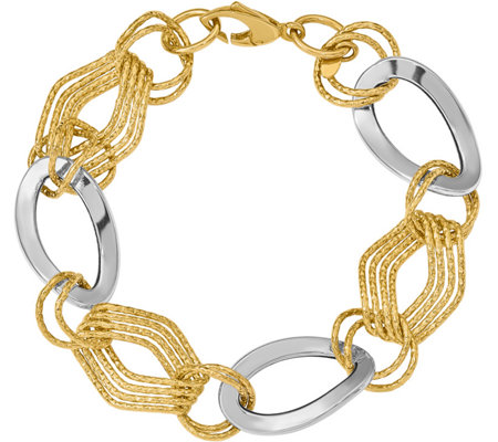"14K Two-tone Polished and Textured 7-3/4"" Bracelet, 8.1g"