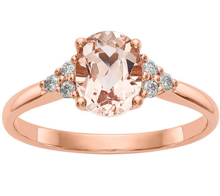 14K Morganite & Diamond Solitaire Ring