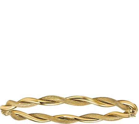14K Polished & Textured Twist Bangle, 5.9g