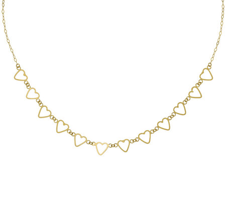 14K Open Hearts Necklace, 1.7g