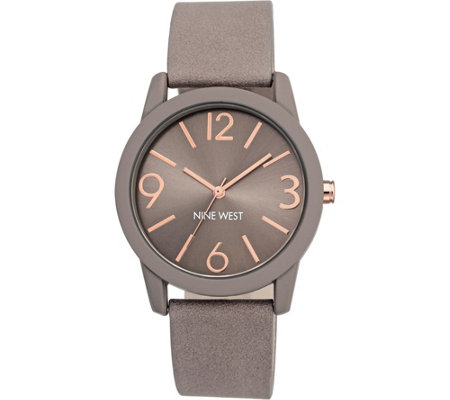 Nine West Ladies Round Taupe Strap Watch