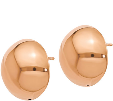 Italian Gold Polished Domed Button Post Earrings 14K