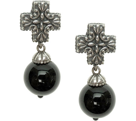 Elyse Ryan Sterling Gemstone Bead Cross Earrings