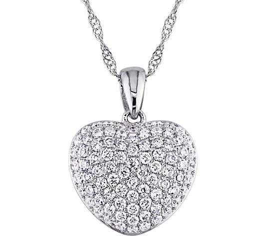 Affinity 14K White Gold 1/2 cttw Diamond HeartPendant w/Chain