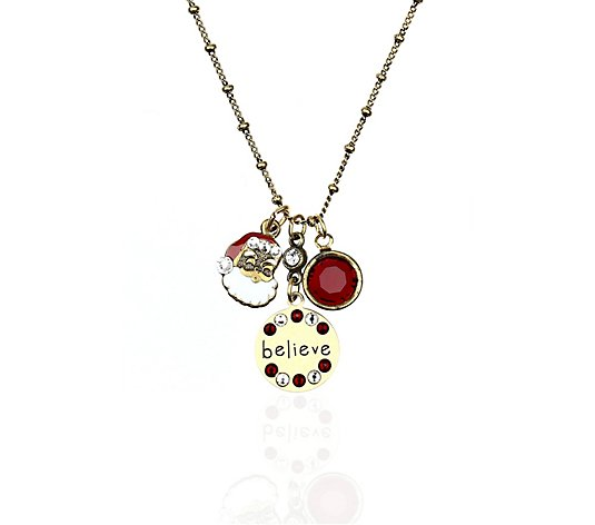 Anne Koplik Swarovski Crystal Santa Jumble Charm Necklace