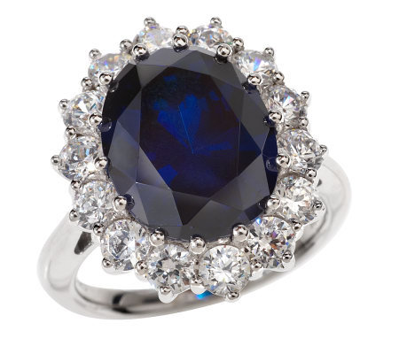 Diamonique Sterling 8.80 ct tw Simulated Sapphire Ring