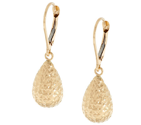 Eternagold Diamond Cut Teardrop Lever Back Earrings 14k