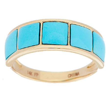 14K Gold Sleeping Beauty Turquoise Inlay Design Band Ring