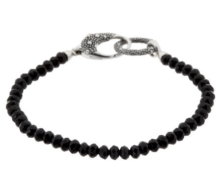 As Is Michael Dawkins Sterling Black Spinel Line Bracelet