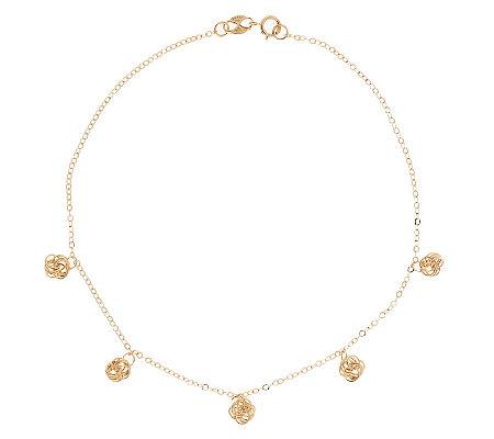 Eternagold 10 Love Knot Charm Ankle Bracelet 14k Gold