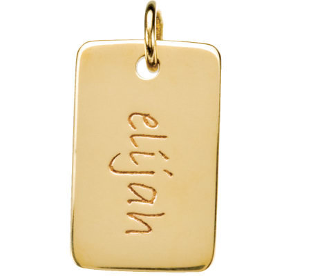 Posh Mommy 18K Gold-Plated Mini Dog Tag Pendant
