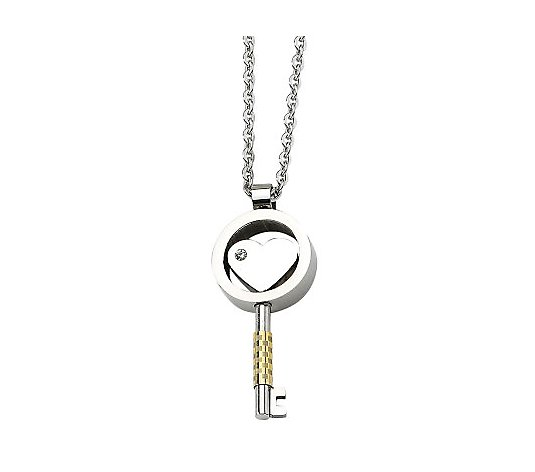 Steel by Design Goldtone-Plated Key Pendant with Chain