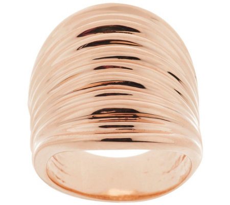 """As Is"" Bronzo Italia Bold Polished Ribbed Saddle Ring"