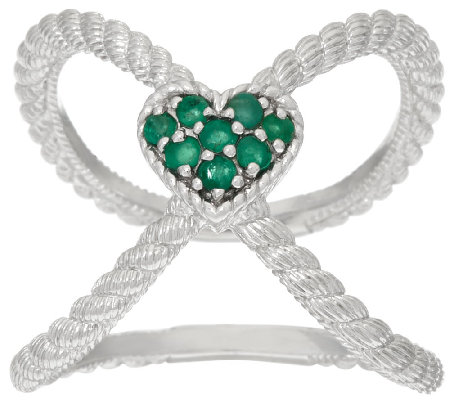 Judith Ripka Sterling Emerald Heart X Ring