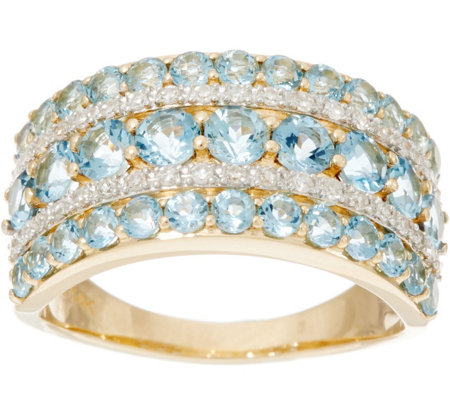 Santa Maria Aquamarine & Diamond Wide Band Ring, 14K 1.40 cttw