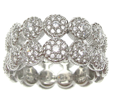 Judith Ripka Sterling Double-Row Pave Diamonique Ring